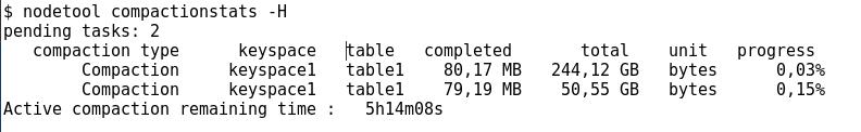 Exemple nodetool compact